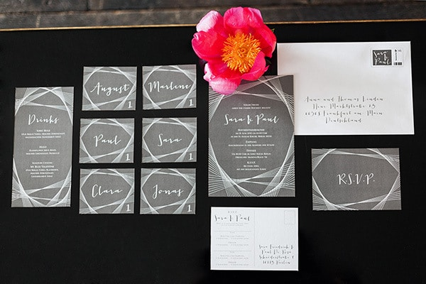 Gray and White Geometric Wedding Invitation | Ashley Ludaescher Photography | Rose Gold and Peony - Modern Metallic Wedding Shoot in Teal and Copper