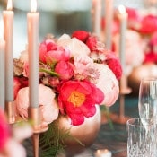 Fuchsia and Blush Peony Centerpiece | Ashley Ludaescher Photography | Rose Gold and Peony - Modern Metallic Wedding Shoot in Teal and Copper
