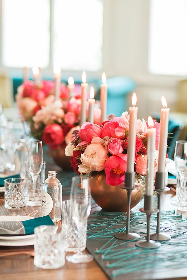 Rose Gold Centerpiece : Rose gold and peony modern metallic wedding shoot hey