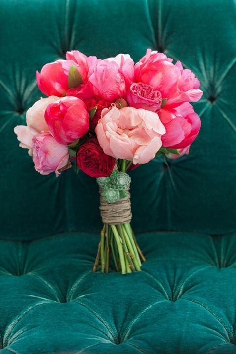 Bright Fuchsia and Pink Peony Bouquet | Ashley Ludaescher Photography | Rose Gold and Peony - Modern Metallic Wedding Shoot in Teal and Copper