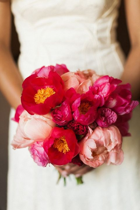 Fuchsia and Blush Bouquet   Ashley Ludaescher Photography   Rose Gold and Peony - Modern Metallic Wedding Shoot in Teal and Copper