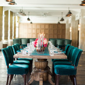 Grand Kings Table with Turquoise Velvet Chairs | Ashley Ludaescher Photography | Rose Gold and Peony - Modern Metallic Wedding Shoot in Teal and Copper