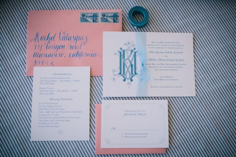 Wedding Invitation with Custom Monogram | Lisa Mallory Photography | Preppy Southern Charm Wedding in Blue, Blush, and Gold
