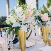 Romantic Gold Table Decor | Lisa Mallory Photography | Preppy Southern Charm Wedding in Blue, Blush, and Gold