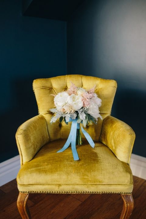 Blush and Ivory Bouquet with Striped Ribbons | Lisa Mallory Photography | Preppy Southern Charm Wedding in Blue, Blush, and Gold