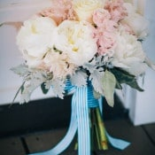 Pink and Ivory Bouquet with Blue Striped Ribbons