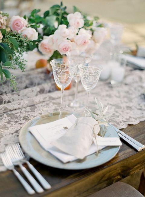 Graceful Lace Table Decor | Jose Villa Photography | Asheville Destination Wedding Inspiration in the Blue Ridge Mountains