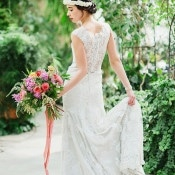 Graceful Classic Bride in a Botanical Garden