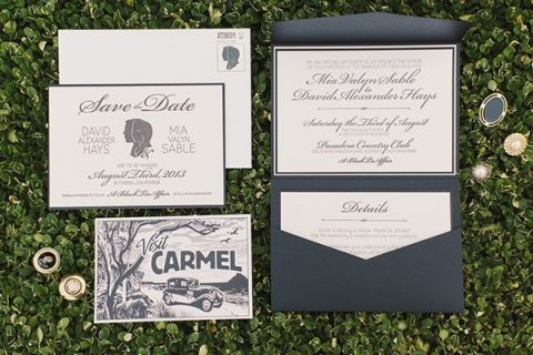 Vintage Inspired Black and White Invitation