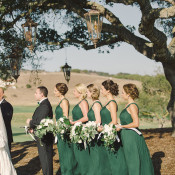 Bridesmaids in Emerald Green Gowns