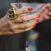 Luxe Black and Gold Cocktail Ring