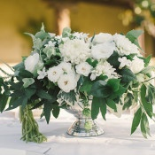 Green, White, and Silver Centerpiece