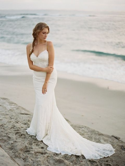 Relaxed and Romantic Bride on the Beach