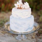 Watercolor Inspired Beach Wedding Cake