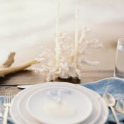White, Gold, and Blue Place Setting with Coral and Shell Details