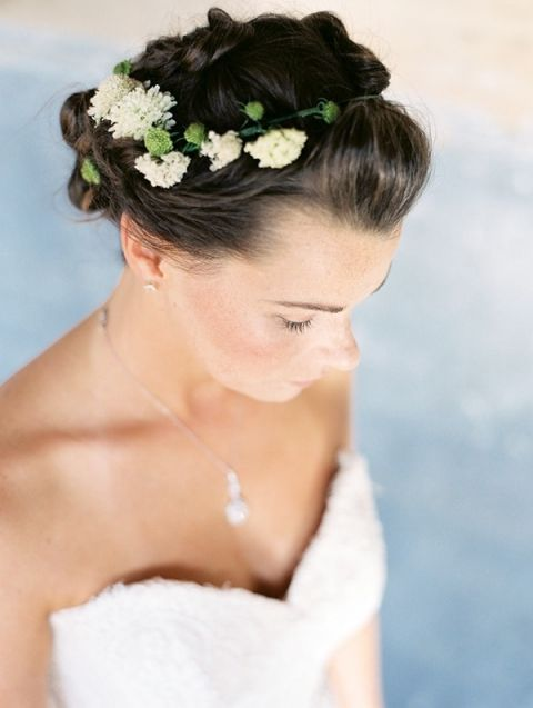 Flowers Woven into a Braided Updo