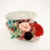 Vintage Jewelry Box with Autumn Blooms   Melanie Nedelko Fine Art Film Photography   Crimson and Gold Fall Foliage Wedding