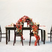 Elegant Table with Vibrant Autumn Flowers | Melanie Nedelko Fine Art Film Photography | Crimson and Gold Fall Foliage Wedding