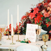Centerpiece of Fall Leaves | Melanie Nedelko Fine Art Film Photography | Crimson and Gold Fall Foliage Wedding