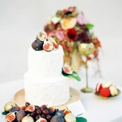 Wedding Cake topped in Figs and Gold Leaf | Melanie Nedelko Fine Art Film Photography | Crimson and Gold Fall Foliage Wedding