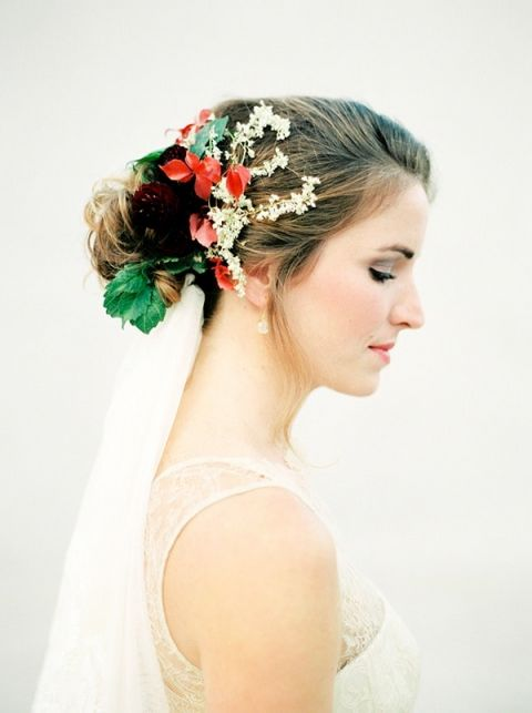 Bride with Flowers in her Hair | Melanie Nedelko Fine Art Film Photography | Crimson and Gold Fall Foliage Wedding