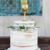 Petite Wedding Cake with Green Garlands | Charla Storey Photography and Grit + Gold | Regal Hacienda Wedding Shoot in Rich Jewel Tones