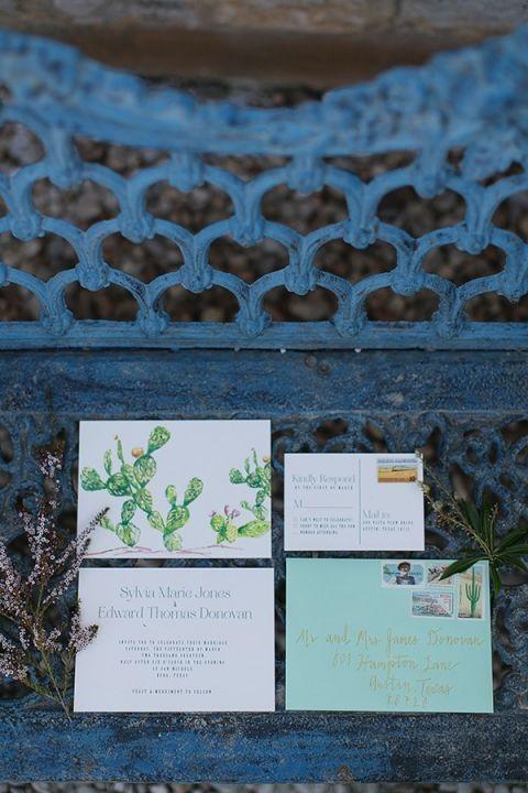 Cactus Print Invitations | Charla Storey Photography and Grit + Gold | Regal Hacienda Wedding Shoot in Rich Jewel Tones