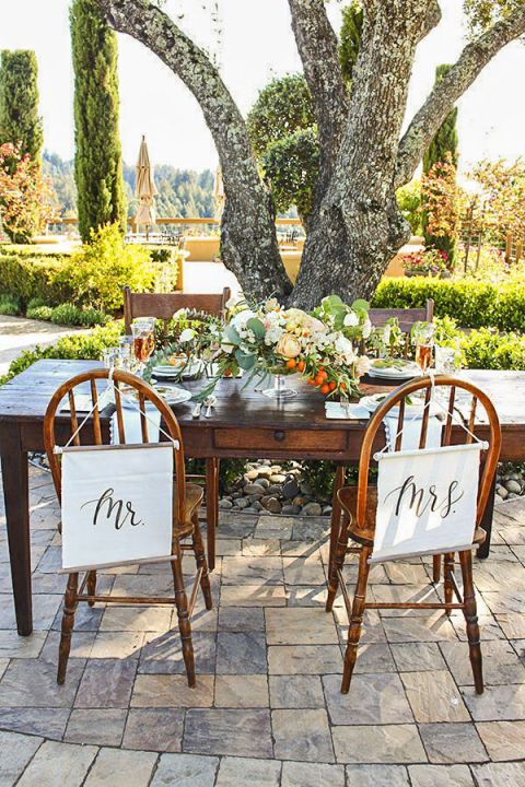 Charming Rustic Head Table with Mr and Mrs Banners | Sweet Summer Citrus from the Bloom Workshop!