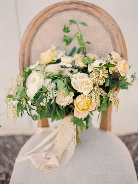 Delicate Pastel Peach and Yellow Bouquet | Danielle Poff Photography | Rustic Sophistication Wedding Shoot in Wine Country