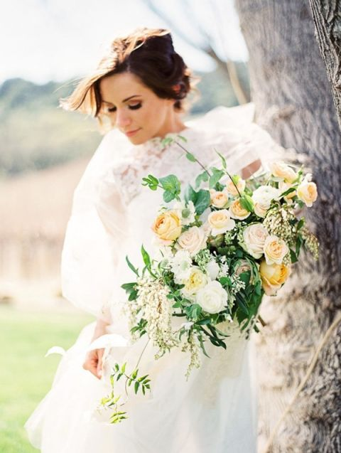 Romantic Spring Cascade Bouquet | Danielle Poff Photography | Rustic Sophistication Wedding Shoot in Wine Country