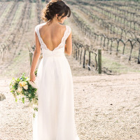Open Back Lace Wedding Dress | Danielle Poff Photography | Rustic Sophistication Wedding Shoot in Wine Country