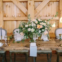 Peach and Gray Farm Table with Vintage Brass | Danielle Poff Photography | Rustic Sophistication Wedding Shoot in Wine Country