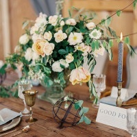Peach Flowers, Trailing Vines, and Vintage Brass | Danielle Poff Photography | Rustic Sophistication Wedding Shoot in Wine Country