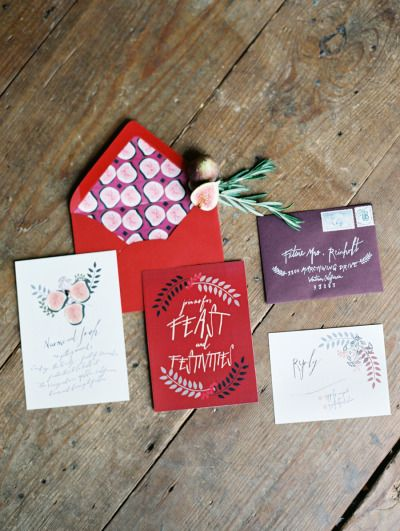 Fresh Fruit Inspired Wedding Invitation | Lavender and Twine Photography | Crimson and Plum - A Bold Wedding Palette with Delicate Details