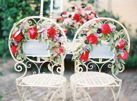Floral Chair Decor | Marissa Lambert Photography | Crimson and Plum - A Bold Wedding Palette with Delicate Details