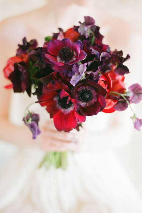 Two Tone Anemone Bouquet | Michael Costa Photography | Crimson and Plum - A Bold Wedding Palette with Delicate Details