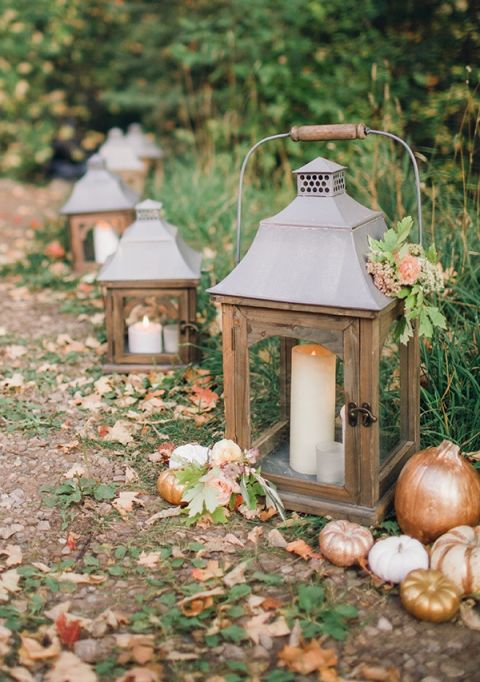 Rustic Fall Wedding Decor with Lanterns and Glitter Pumpkins