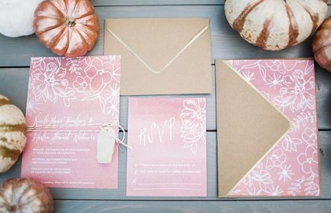Copper and Rose Gold Floral Print Wedding Invitations