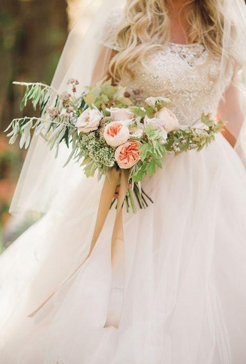 Rose Gold Wedding Dress 71 Vintage Garden Rose Bouquet with