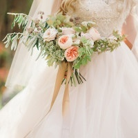 Garden Rose Bouquet | Megan Robinson Photography and Leslie Dawn Events | Blush and Rose Gold Woodland Wedding Shoot