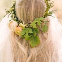 Oak and Rose Floral Crown | Megan Robinson Photography and Leslie Dawn Events | Blush and Rose Gold Woodland Wedding Shoot