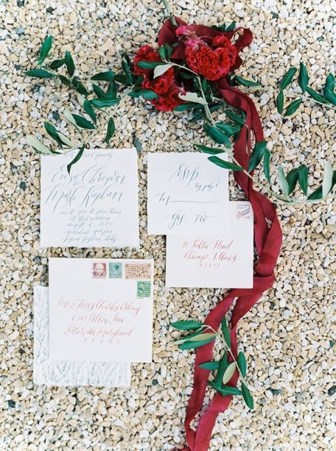 Elegant Calligraphy Invitation | Maria Lamb Photography | Gracious Villa Wedding in the Heart of Tuscany
