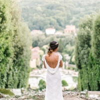 Draped Backless Wedding Dress | Maria Lamb Photography | Gracious Villa Wedding in the Heart of Tuscany