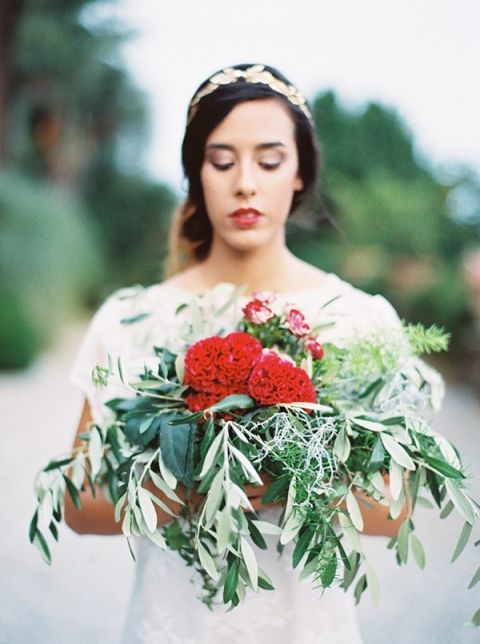 Red and Olive Bridal Bouquet | Maria Lamb Photography | Gracious Villa Wedding in the Heart of Tuscany