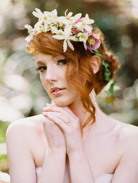 Red Haired Bride with a Floral Crown | Ryan Flynn Photography | Modern Anne of Green Gables Wedding Inspiration in Blush and Spring Green