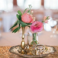 Vintage Vessels with Flowers and Sequins | Jessica Gold Photography | Vintage Chic Pink and Gold Glitter