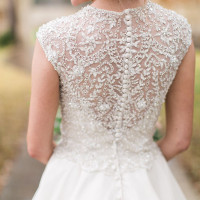 Intricate Beaded Lace Back for a Glam Wedding Dress | Jessica Gold Photography | Vintage Chic Pink and Gold Glitter