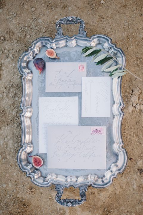 Calligraphy Invitations on a Silver Tray | Whiskers and Willow Photography | Sea Foam and Peach Coastal Wedding Inspiration