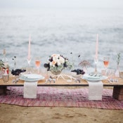 Bohemian Cliffside Sweetheart Table | Whiskers and Willow Photography | Sea Foam and Peach Coastal Wedding Inspiration