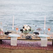 Rustic Plank Setting | Whiskers and Willow Photography | Sea Foam and Peach Coastal Wedding Inspiration
